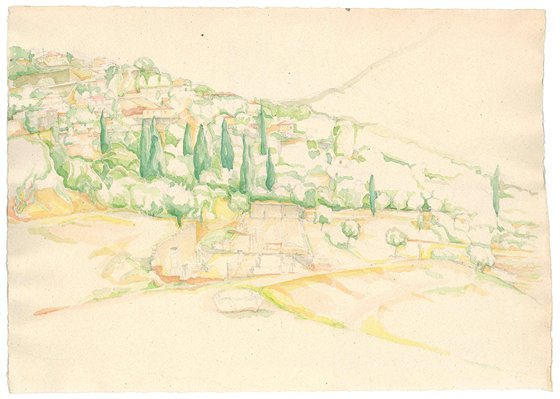 The ancient sight of Messini, watercolour on paper