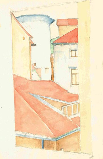 Roofscape in Split, watercolour on paper